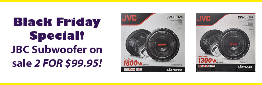 Black Friday Special! JBC Subwoofer on sale 2 for $99.95! 1800 watts - 12 inch Subwoofer 1300 watts - 10 inch Subwoofer